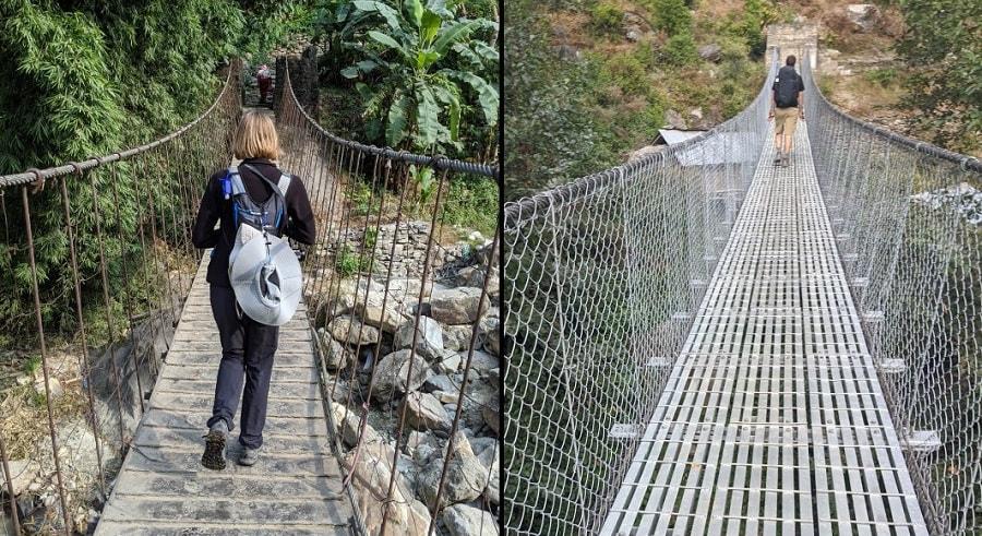 Metal Bridges on the Annapurna Base Camp Trek