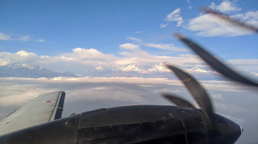 Pokhara to Kathmandu view of Annapurna from the airplane