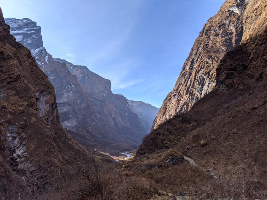 Canyon between MBC and Deurali - ABC Trek Day 5