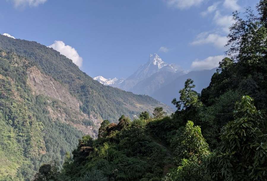 First View of Fish Tail between Ghandruk and Chhomrong