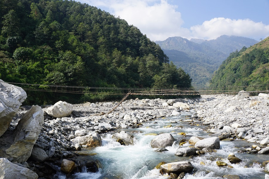 Broken bridge crossing the river between Ghandruk and Chhomrong