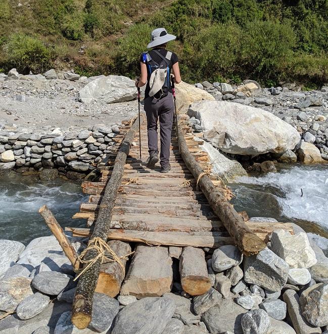 Bridge crossing the river between Ghandruk and Chhomrong