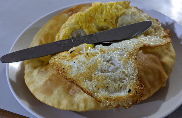 Gurung bread with a fried egg on the ABC trek