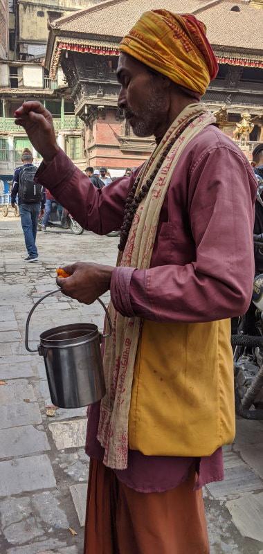 Kathmandu Temple - Tika Blessing