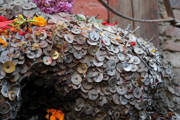 Kathmandu Temple - Coins Offered for Healing