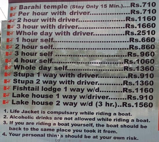 Pokhara Boating Prices