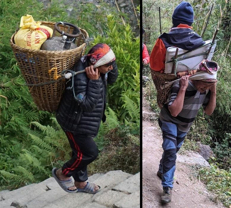 Porters between Chhomrong and Himalaya