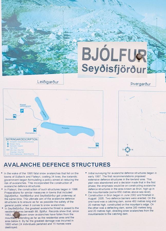 Bjólfur Map at start of road