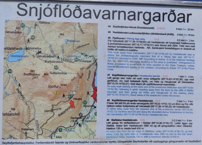 Bjólfur Map up at Seyðisfjörður Overlook