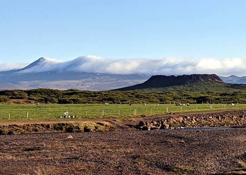 View of Eldborg Crater from Snorrastaðir Farm Campsite