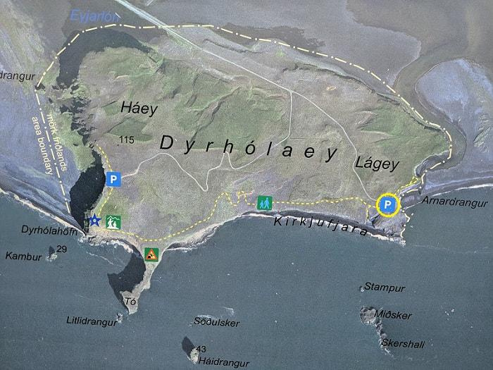 Kirkjufjara Beach Dyrhólaey Area Map