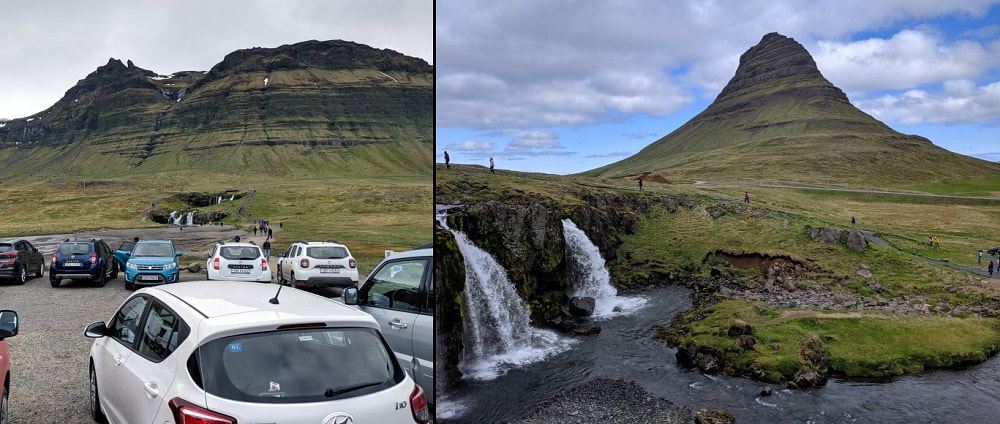 Kirkjufell Mountain and  Kirkjufellsfoss Waterfall