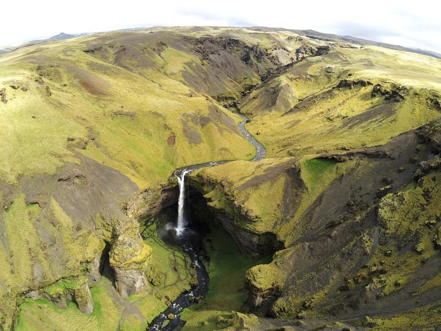 Kvernufoss Waterfall Drone Shot