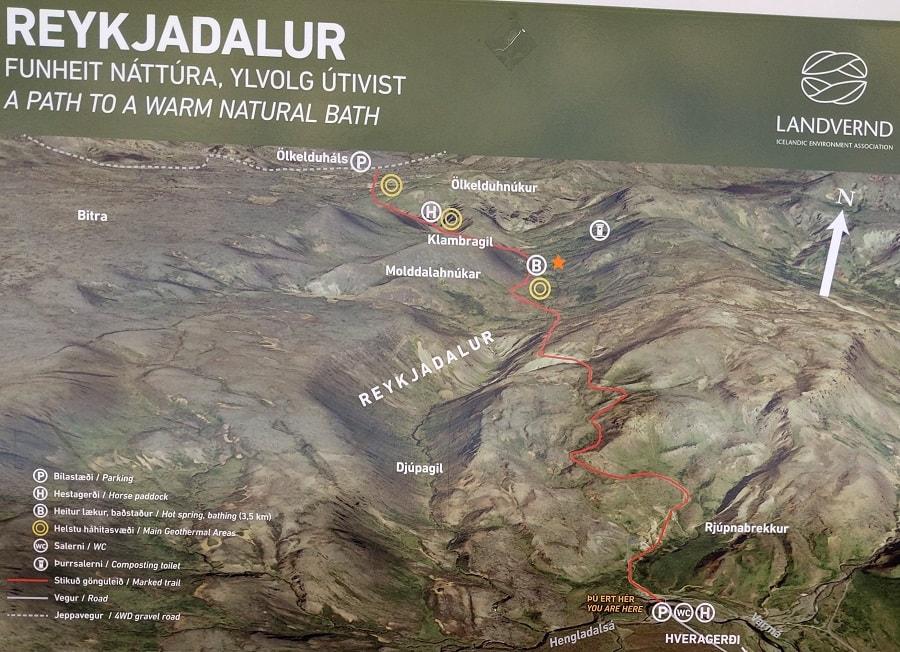 Reykjadalur Hot Spring River Trail Map